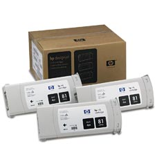 HP C5066A (HP 81) Black Dye InkJet Cartridges (3/Pack)