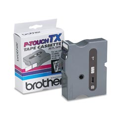 "Brother TX1511 TX P-Touch 1"" Black on Clear Tape"