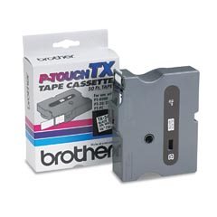"Brother TX2411 TX P-Touch 3/4"" Black on White Tape"